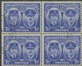 AUS SG210 3½d Ultramarine Gloucester block of 4